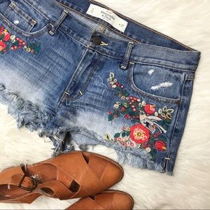 Abercrombie Embroidered Cut off Denim Jean Shorts